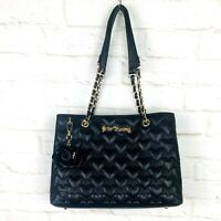 Betsey Johnson Black Faux Leather Quilted Hearts Rose Charm Tote Shoulder Bag