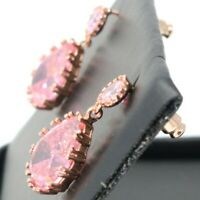 Vintage Antique Pink Sapphire Dangle Earring Women Jewelry 14K Rose Gold Plated
