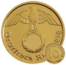 ++ 10 Reichspfennig 1939 mit HK - 24 Karat vergoldet ++