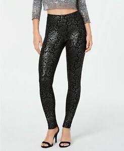 HUE Womens Metallic Tapestry Printed Leggings Black