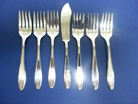 7 Pc Lady Doris Silverplate 1929 PRINCESS Salad / Dessert Forks Master Butter IS