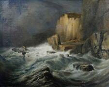 Charles COLLIGNON (XIX) Marine 92 x 73 cm Normandie Romantisme Etretat Dieppe