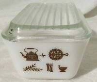 Vintage Pyrex Early American White Brown Small Loaf Pan Dish 1.5 Pint / with lid