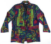 NWOT Vintage 80s 90s Abstract Geometric Art Multi Color One Button Jacket Blazer