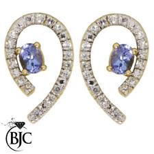 Orecchini di lusso ovale in pietra principale tanzanite Diamante