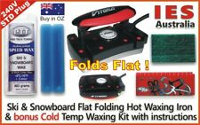 Ski-Snowboard Vitora Flat Folding Hot Waxing Iron + Blue Cold Temp Wax Kit&Guide