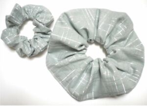 SCRUNCHIE PONY TAIL HAIR TIES 100% COTTON JUMBO & SKINNY HANDMADE USA SAGE GREEN