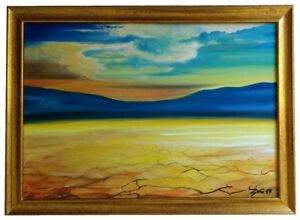 Dry Desert Original Painting With Frame Landscape Cracked Sand Dramatic Sky