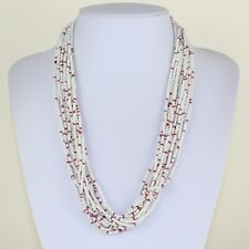 White Red Colour Necklace Multi Strand Statement Necklace Ethnic African MB16