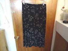 Womens Briggs Petite Size L / P Black Multi Color Floral / Geometric Skirt