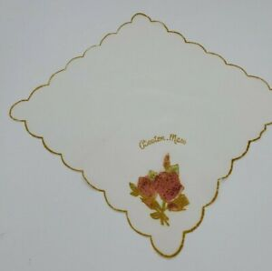 Vintage Boston MA Handkerchief Roses Gold And Red