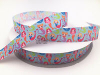 10Y 1'' 25MM Mermaid patterns bow Ribbon Crafts Sewing Grosgrain Ribbon blue