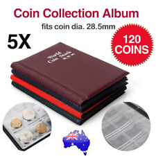5X 120 Coin Holder Collection Album Money Storage Pockets Penny Book Collecting