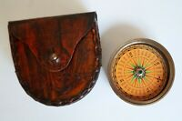 Antique Brass Flat Camping Hiking Compass w/ Handmade Leather box Case Item Gift