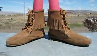 Minnetonka Brown Suede Leather Fringe Ankle Boots Moccasins Womens 9