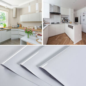 5/10M Glossy White Self Adhesive Vinyl Cupboard Door Cover Kitchen Cabinet Wrap
