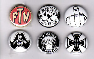 FOREVER TWO WHEELS F.T.W. IRON CROSS HAT JACKET LAPEL PINS BADGES outlaw biker