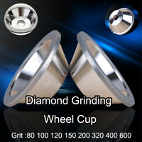 100mm Diamond Grinding Wheel Cup Grit 100-600 Tool Sharpener Grinder Accessory
