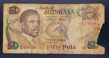 1992 Bank of Botswana Banknote - Boat King Fisher Zebra Fish Eagle - 50 Pula