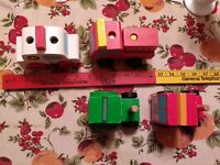 Melissa & Doug, Wooden Vehicles, Stacking Ambulance, Fire Truck, 2 more trucks