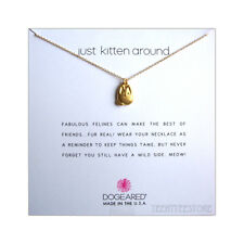 """Dogeared 14K Gold Vermeil Kitty Charm Just Kitten Around 16 + 2"""" Necklace Boxed"""