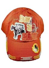 Women's Distressed Embellished Baseball Cap, One Size, Orange, Western, Trucker