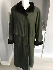 London Fog Khaki Green Faux Fur Lined Overcoat Size 16/18