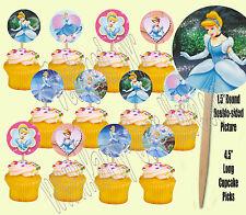 Disney Princess Cinderella Double-Sided Cupcake Picks Cake Toppers -12 pcs