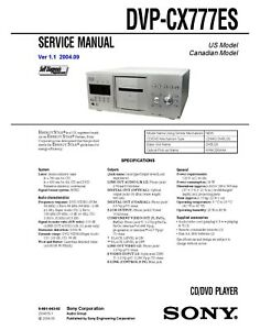 Sony DVP-CX777ES CD DVD Player SERVICE Manual Instructions w/ Metal COIL BOUND