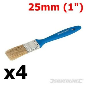 """4  x 25mm DISPOSABLE PAINT BRUSHES ½"""" DECOR DECORATING WALLPAPER PAINTING BRUSH"""