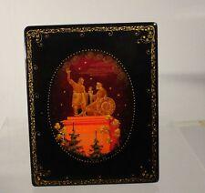 Antique Mid Century Vintage Russian Lacquer Box Signed Statue Label