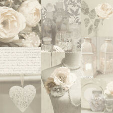 WOW! SHABBY CHIC Charlotte neutre Heart Love Feature Wallpaper 665203 Arthouse