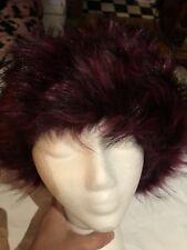 Vintage Burgundy Fox Faux Fur Russian Hat