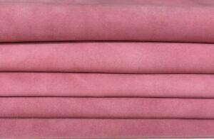 PINK SUEDE genuine Italian Goatskin Goat leather 4 skins hides total 8sqf #A7392