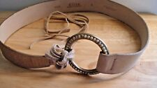 Elite Womens Boho Tie Belt Size M Beaded Buckle Tan Leather