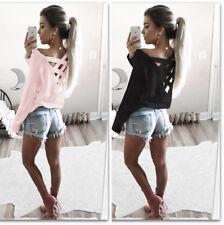 Fashion Autumn Women Ladies Backless Blouse Long Sleeve Shirt Loose Blouse Tops