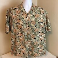 Pierre Cardin Mens Hawaiian Aloha Camp Shirt XL Green Brown Floral Free Shipping