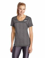 NEW 2XU Women's Movement Tee T-Shirt Short Sleeve Black Marle Gray, Medium M
