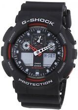 Casio G-Shock GA-100-1A4ER Men's World Timer Watch Black Resin Strap Red RRP£110