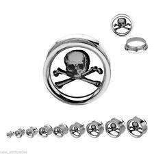 "PAIR-Skull & Crossbones Steel Screw On Plugs 25mm/1"" Gauge Body Jewelry"
