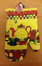 """1 Rare Printed Oven Mitt, COFFEE CUP & TEAPOT, (11"""") yellow back, by PRIDE"""