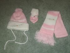 Vintage 1960'S C&F Baby Newborn Pink Scarf Hat & Mittens Set Made In Japan Rare