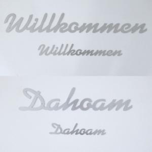 Willkommen Schriftzug Edelstahl Schild Dahoam Schrift Spruch basteln Türschild