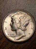 1945 P BU Silver Mercury Dime
