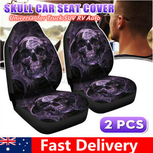 2x Skull Printed Front Car Seat Covers Protectors Comfor Washable  For Toyota VW