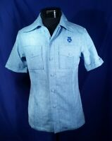 Vtg Waltah Clarke's shirt Hawaiian Blue Men's Size Small