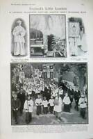 Old Antique Print 1908 Catholic Lady Lourdes Grotto Chapel Clement Tyck 20th