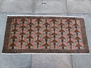 Vintage Hand Made Traditional Oriental Wool Brown Red Small Rug 61x132cm