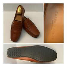 Ralph Lauren Italy Mens 91/2 Brown Pebbled Leather Driving Moccasin Penny Loafer