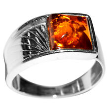 3.52g Authentic Baltic Amber 925 Sterling Silver Ring Jewelry N-A7151